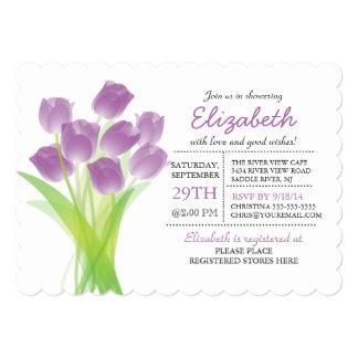 Ducha nupcial del tulipán púrpura tipográfico invitación 12,7 x 17,8 cm