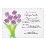 Ducha nupcial del tulipán púrpura tipográfico mode comunicado personal
