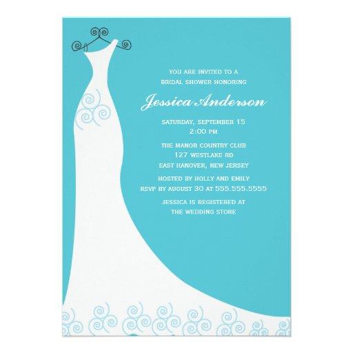 Ducha nupcial del vestido de boda de la aguamarina invitacion personalizada