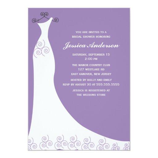 """Ducha nupcial del vestido de boda de la lila invitación 5"""" x 7"""""""
