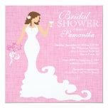 Ducha nupcial del vino rosado moderno de la novia invitación 13,3 cm x 13,3cm