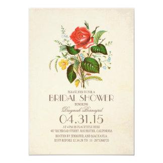 ducha nupcial del vintage de la flor clásica de la invitación 12,7 x 17,8 cm