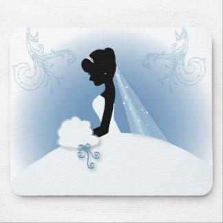 ducha nupcial del vintage de la silueta romántica tapete de ratón