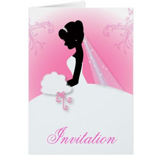 ducha nupcial del vintage de la silueta romántica tarjeta de felicitación