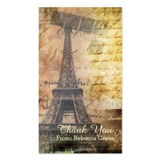 ducha nupcial del vintage de la torre Eiffel de Pa Tarjetas De Visita