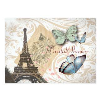 Ducha nupcial del vintage elegante de la mariposa invitación 12,7 x 17,8 cm