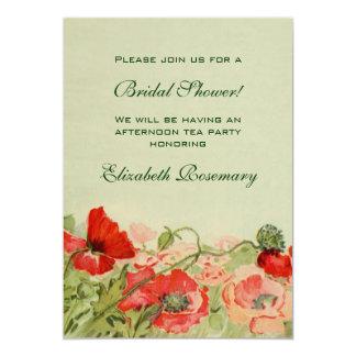 Ducha nupcial del vintage, flor roja de la amapola invitacion personalizada