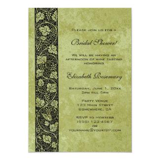 Ducha nupcial del vintage, hojas de la vid de uva invitación 12,7 x 17,8 cm