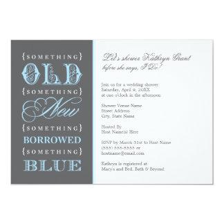 Ducha nupcial el | algo nuevo azul prestado viejo invitación 12,7 x 17,8 cm