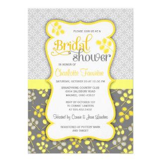 Ducha nupcial elegante amarilla y gris moderna comunicado