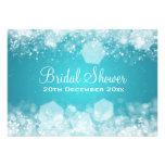 ducha nupcial elegante azul chispeante de la noche invitación personalizada