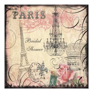 """Ducha nupcial elegante de la torre Eiffel y de la Invitación 5.25"""" X 5.25"""""""