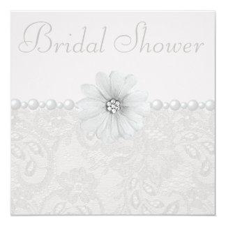 Ducha nupcial elegante del cordón, de las flores y invitación 13,3 cm x 13,3cm