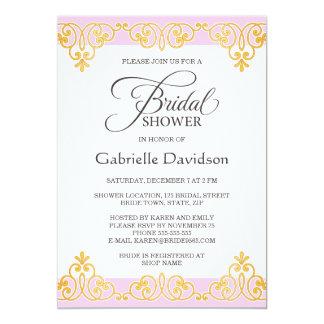 Ducha nupcial elegante del damasco rosado y de oro invitación 12,7 x 17,8 cm
