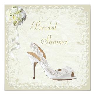 """Ducha nupcial elegante del zapato y del ramo invitación 5.25"""" x 5.25"""""""