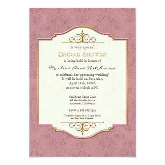 Ducha nupcial elegante formal clásica del oro y invitaciones personales