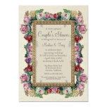 Ducha nupcial elegante formal floral del brocado invitación 12,7 x 17,8 cm