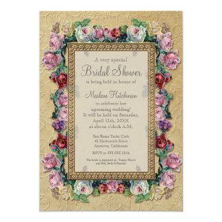 """Ducha nupcial elegante formal floral del brocado invitación 5"""" x 7"""""""