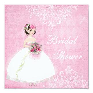"""Ducha nupcial elegante lamentable del rosa hermoso invitación 5.25"""" x 5.25"""""""