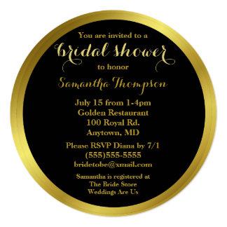 """Ducha nupcial elegante moderna de la hoja de oro invitación 5.25"""" x 5.25"""""""