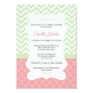 """Ducha nupcial elegante verde y rosada moderna de invitación 5"""" x 7"""""""