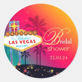 Ducha nupcial fabulosa de Las Vegas Pegatina Redonda