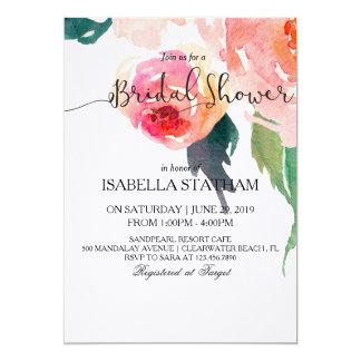 """Ducha nupcial floral de la acuarela elegante invitación 5"""" x 7"""""""