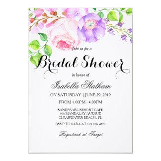 """Ducha """"nupcial """" floral de la acuarela elegante invitación 5"""" x 7"""""""