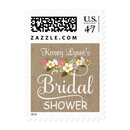 Ducha nupcial floral de la arpillera rústica sello postal