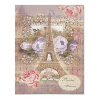"""Ducha nupcial floral de la torre Eiffel elegante Invitación 4.25"""" X 5.5"""""""