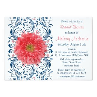 """Ducha nupcial floral de los azules marinos invitación 4.5"""" x 6.25"""""""