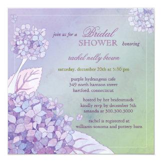 """Ducha nupcial floral de los Hydrangeas púrpuras Invitación 5.25"""" X 5.25"""""""