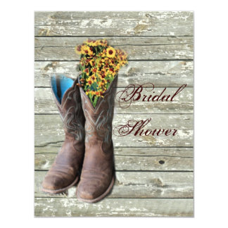 """ducha nupcial floral del país occidental de las invitación 4.25"""" x 5.5"""""""