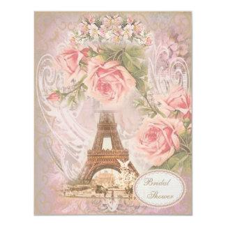 """Ducha nupcial floral del rosa elegante lamentable invitación 4.25"""" x 5.5"""""""