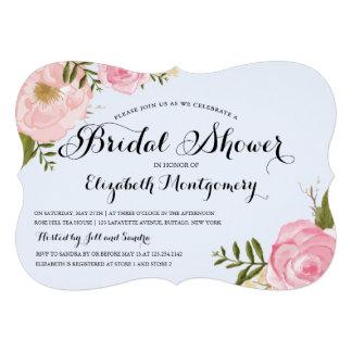 Ducha nupcial floral del rosa moderno del vintage invitaciones personales