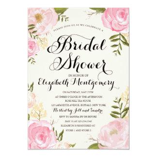 """Ducha nupcial floral del rosa moderno del vintage invitación 5"""" x 7"""""""