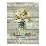 ducha nupcial floral del tarro de albañil del país invitación 10,8 x 13,9 cm