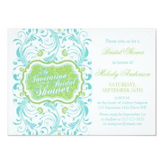 """Ducha nupcial floral elegante del verde de azules invitación 4.5"""" x 6.25"""""""