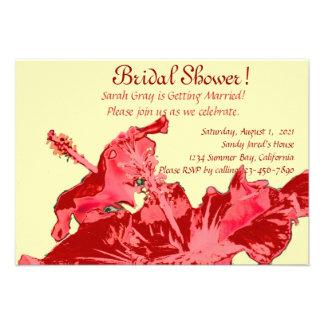 Ducha nupcial floral exótica del hibisco rojo