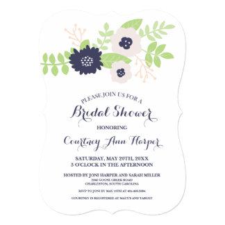 Ducha nupcial floral moderna (azules marinos y invitación 12,7 x 17,8 cm