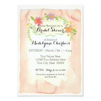 """Ducha nupcial floral Painterly moderna de la Invitación 5"""" X 7"""""""
