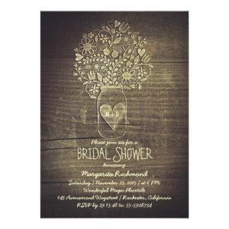 ducha nupcial floral rústica del tarro de albañil  invitacion personalizada