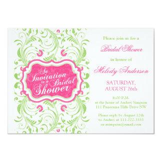 """Ducha nupcial floral verde rosada fucsia elegante invitación 4.5"""" x 6.25"""""""