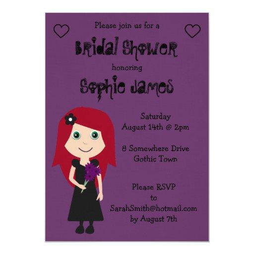 """Ducha nupcial gótica linda de lino púrpura invitación 5"""" x 7"""""""
