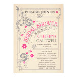 Ducha nupcial gris del rosa floral del Flourish Invitación 12,7 X 17,8 Cm