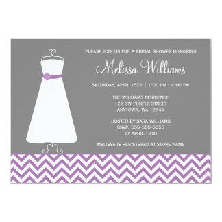 """Ducha nupcial gris púrpura del vestido moderno de invitación 4.5"""" x 6.25"""""""