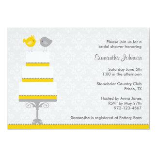 Ducha nupcial Invitatio de los pájaros amarillos y Comunicado Personal