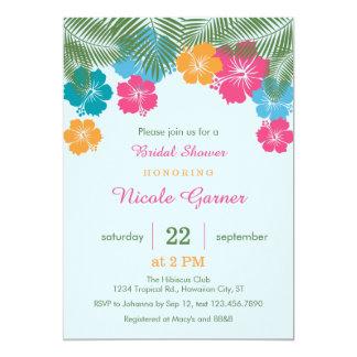 """Ducha nupcial Invitatio del hibisco hawaiano Invitación 5"""" X 7"""""""