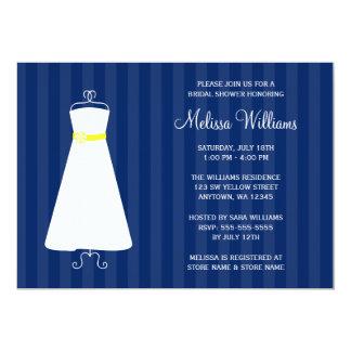 """Ducha nupcial moderna del vestido de los azules invitación 5"""" x 7"""""""