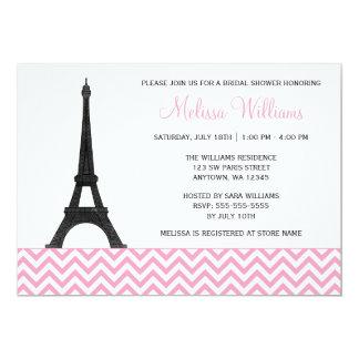 """Ducha nupcial negra rosada de París Chevron Invitación 5"""" X 7"""""""
